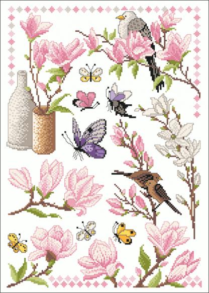 Zählvorlagen, Frühjahr, Magnolien