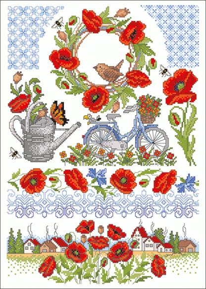 Zählvorlagen, Sommer, Mohnblüten